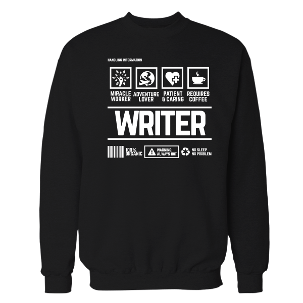 Writer Handling Black Shirt