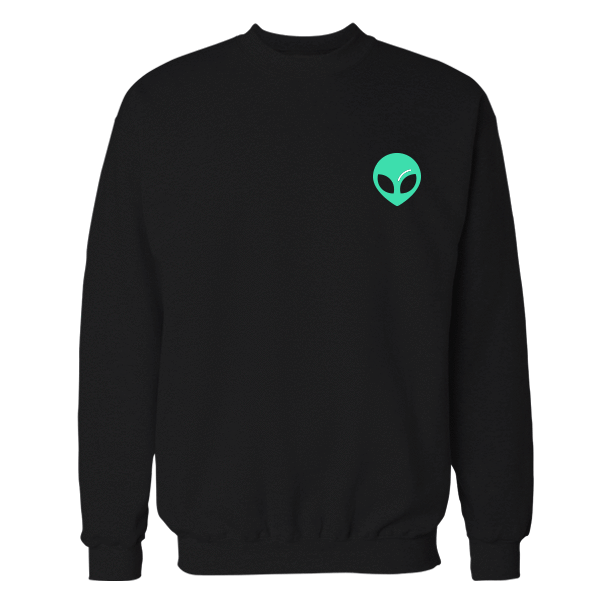 Alien Embroidered Cotton Black Sweatshirt