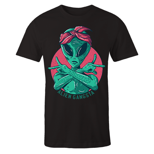 Alien Gangsta Silk Screen Black Cotton Shirt
