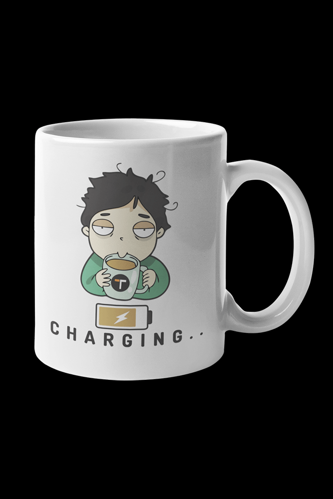 Coffee Charge Male Sublimation White Mug