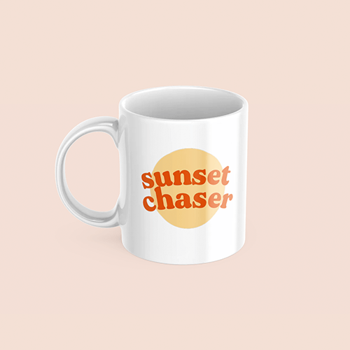 coffee & midnights sunset chaser mustard sublimation white mug