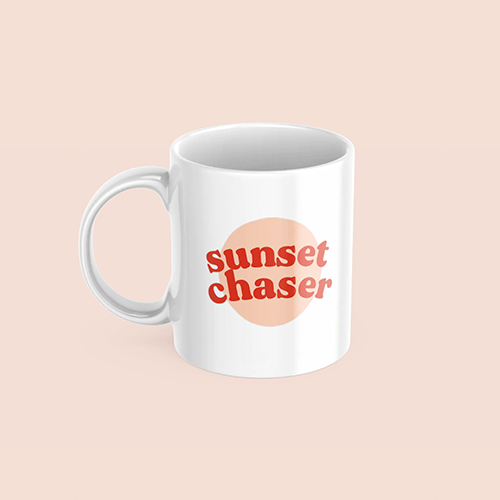 coffee & midnights sunset round sublimation white mug