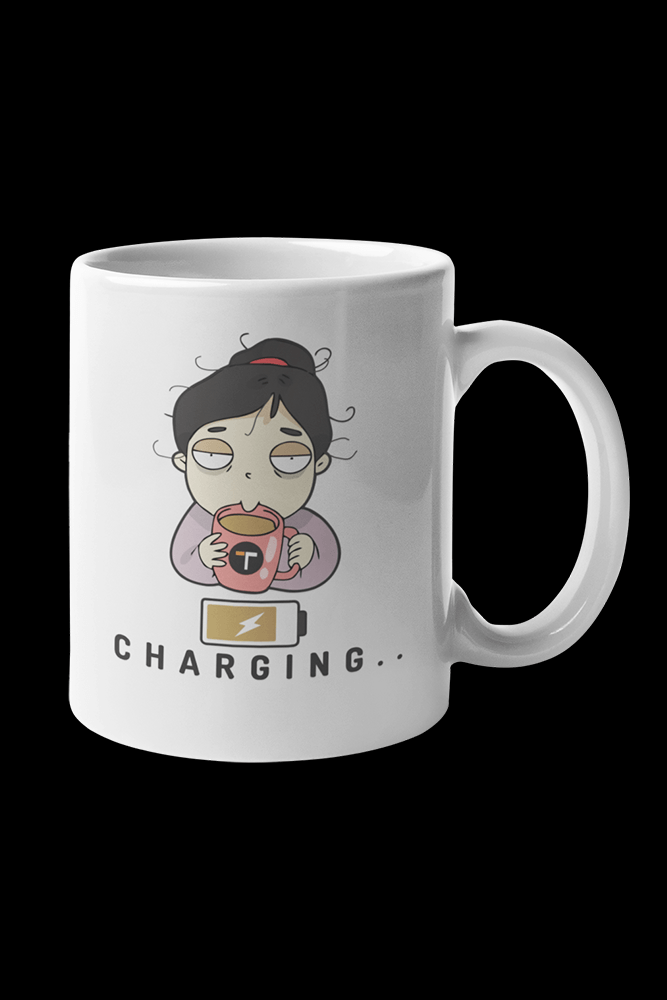 Coffee Charge Female Sublimation White Mug