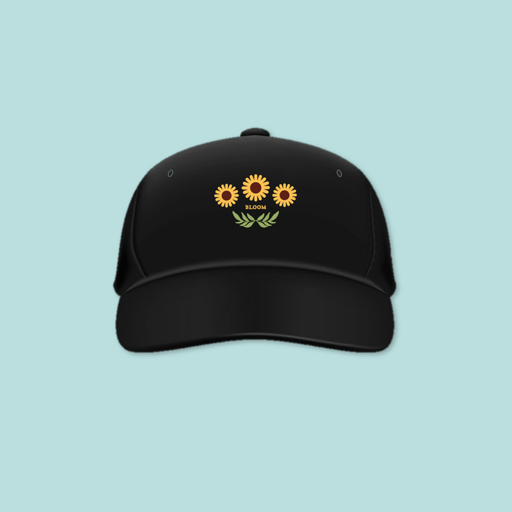 coffee & midnights bloom Black Embroidered Cap