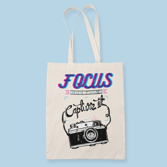 Camera Focus Sublimation Canvass Tote Bag