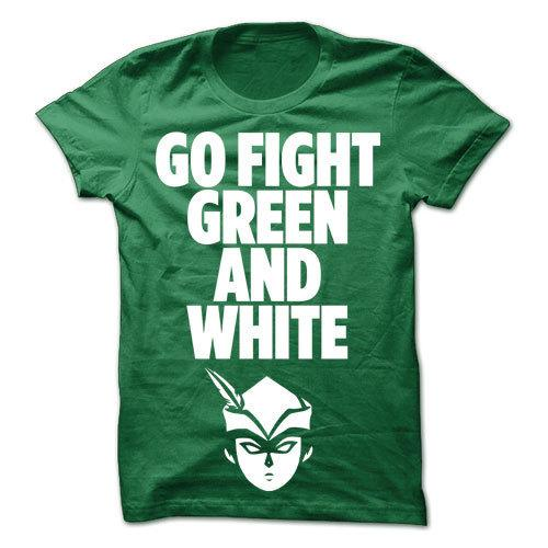 Go Fight Green & White Green Cotton Shirt