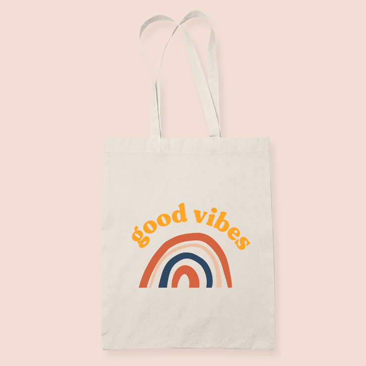 coffee & midnights good vibes rainbow sublimation canvas tote bag