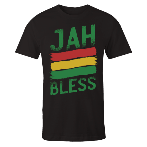 Jah Bless Silk Screen Black Cotton Shirt