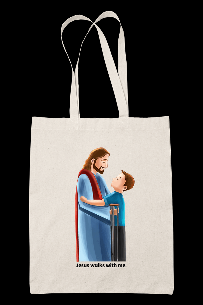 Jesus walks with me Sublimation Canvass Tote Bag