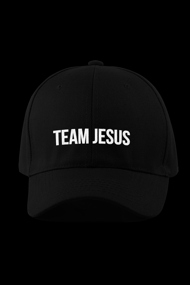 Team Jesus Text Black Embroidered Cap