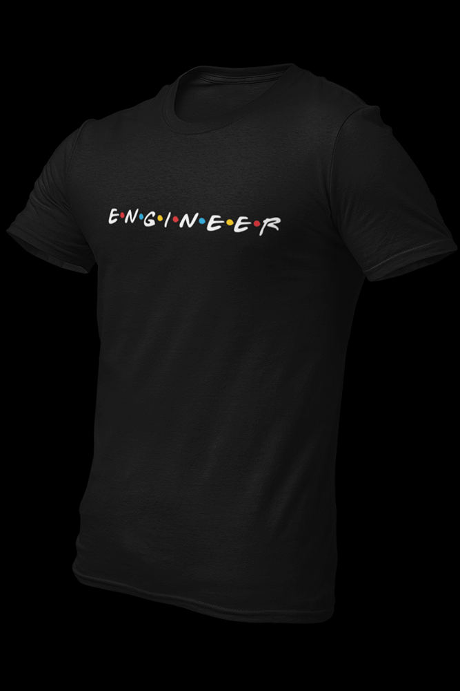 Engineer Friends Embroidered Cotton Black Shirt