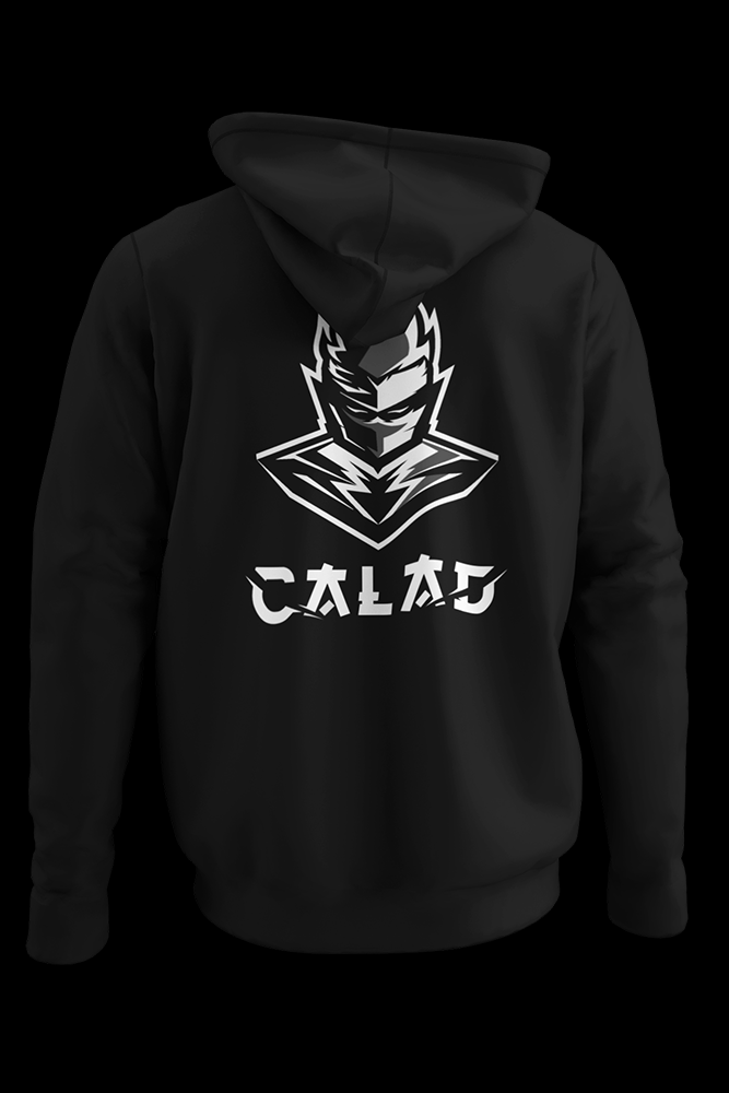 B&W CALAD Black hoodie embroidered pocket size print w/ vinyl back print