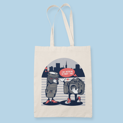 Camera Love Handling Sublimation Canvass Tote Bag