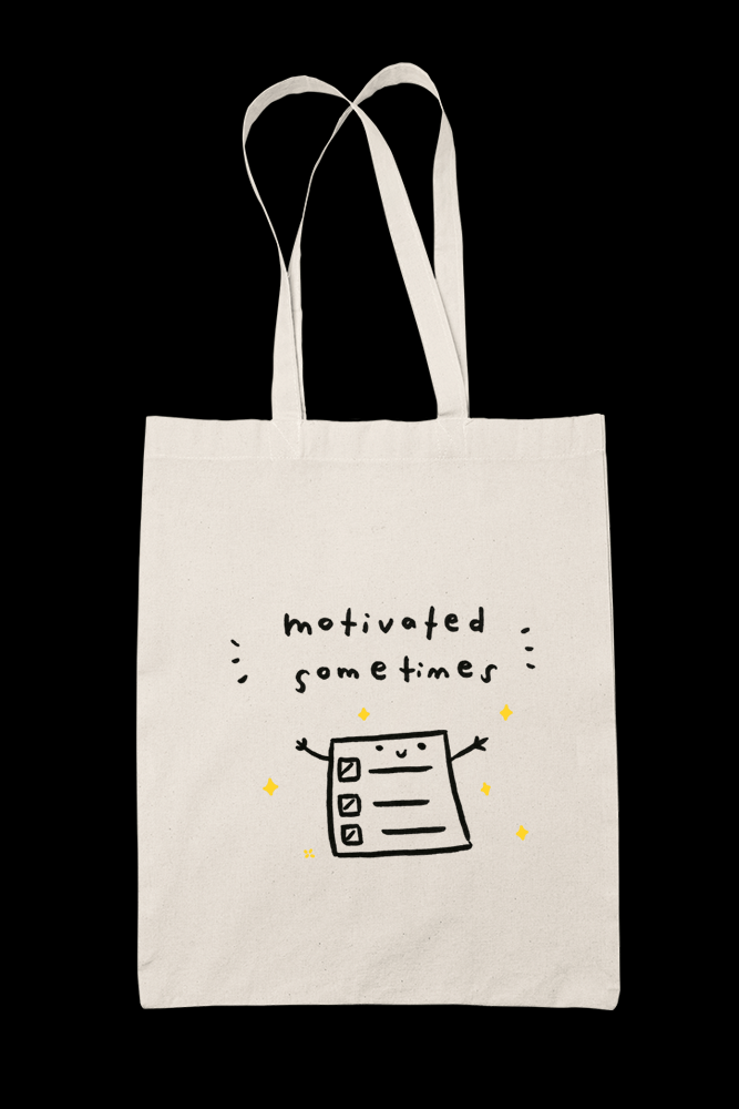 Motivated sometimes Sublimation Canvass Tote Bag