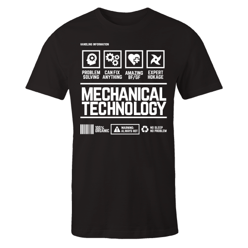 Mechanical Technology Handling Black Cotton Shirt
