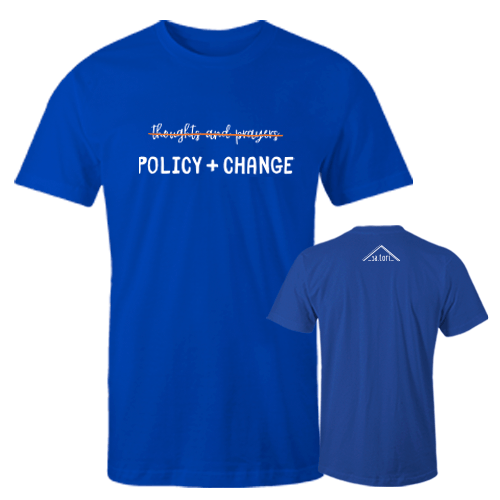 Thoughts and prayers on blue Cotton Shrt w/ Logo