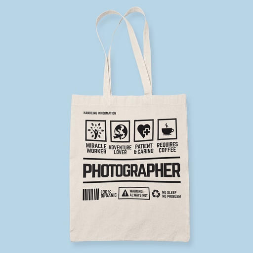 Photographer Handling Sublimation Canvass Tote Bag
