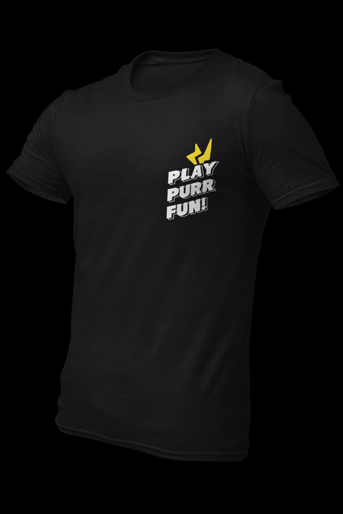 Play Purr Fun Black Cotton Shirt With Back Print