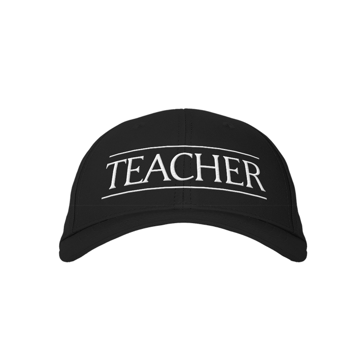 Teacher Black Embroidered Cap