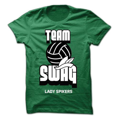 Team Swag Lady Spikers Green Cotton Shirt