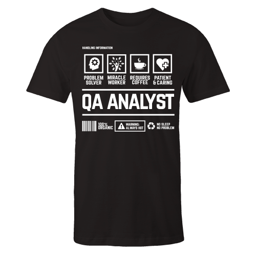 QA Analyst Handling Black Cotton Shirt