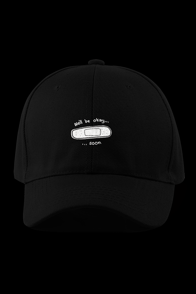 Well be ok Black Embroidered Cap