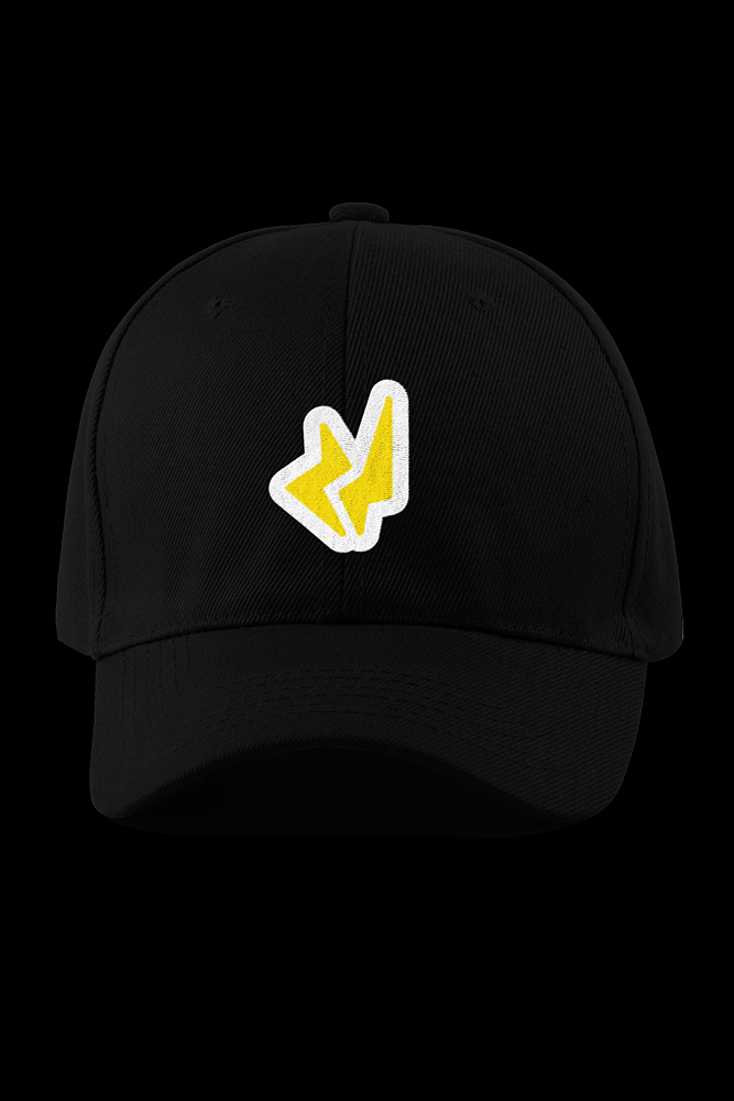 Purr Black Embroidered Cap
