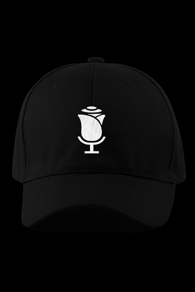Voiceover Flowers Black Embroidered Cap