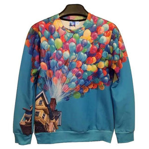 Balloons Lifting House Up Sweater - The Hoodie Hut