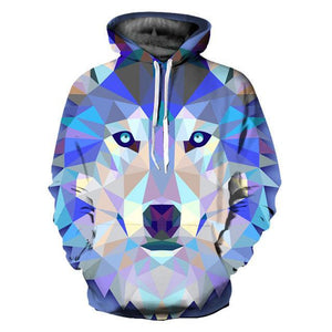 Blue Geometric Wolf Hoodie - The Hoodie Hut