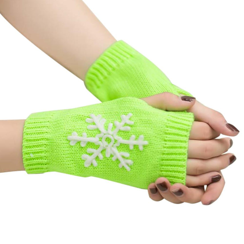Snowflake Fingerless Knitted Gloves (18 Colors)