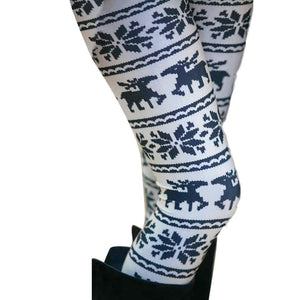 Black and White Christmas Reindeer Leggings - The Hoodie Hut