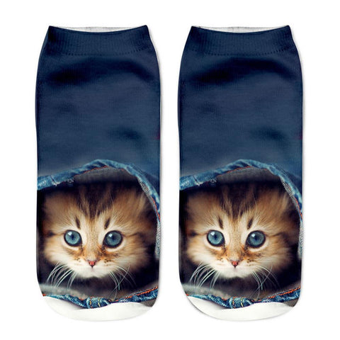 Blue Jeans Kitten Animal Socks