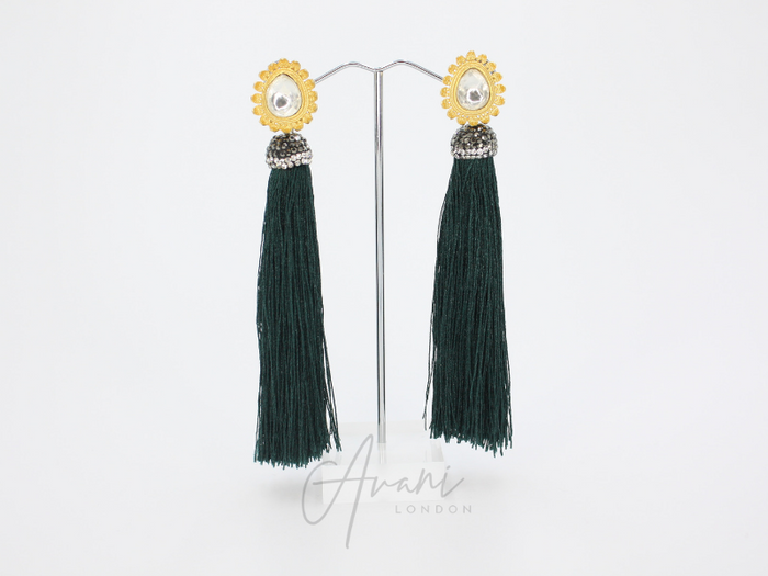 Teyana Forest Green Tassel Earrings | Avani London | Inspirational Indian Jewellery