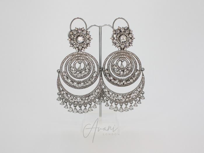Rhea Signature 'Diamond Cut' Oxidised Silver Chandelier Earrings | Avani London | Inspirational Indian Jewellery