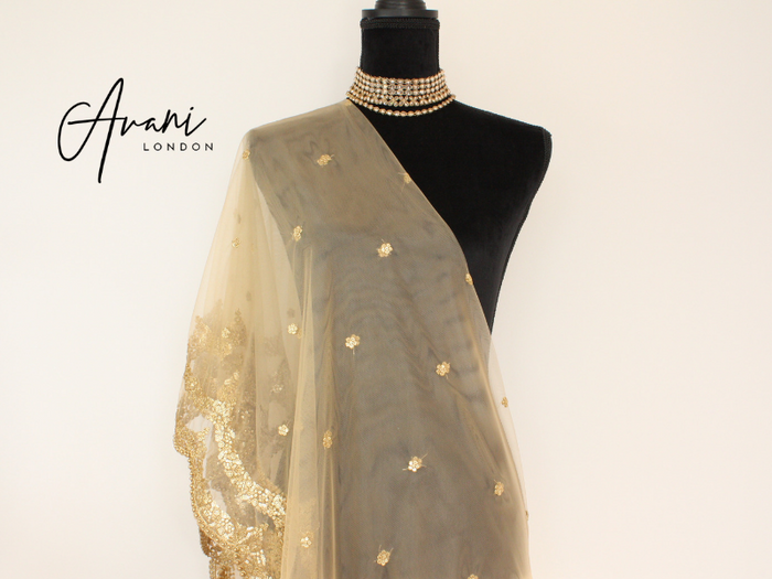 Light Gold Soft Net Dupatta | Avani London | Inspirational Indian Jewellery
