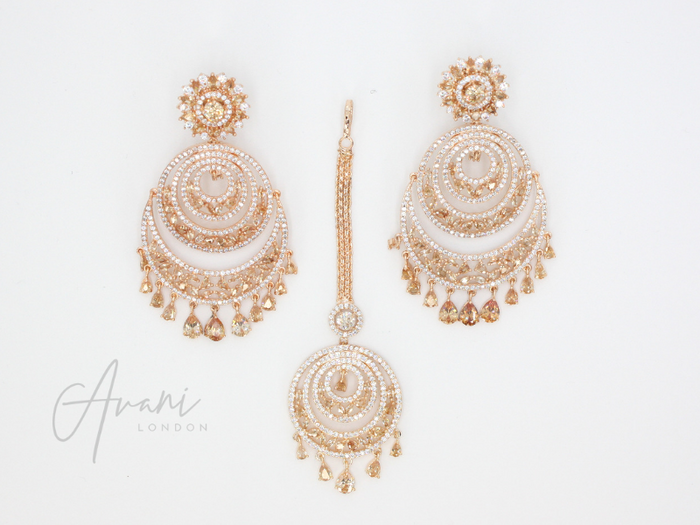 Rhea Signature Rose Gold Earring and Tikka Set | Avani London | Inspirational Indian Jewellery