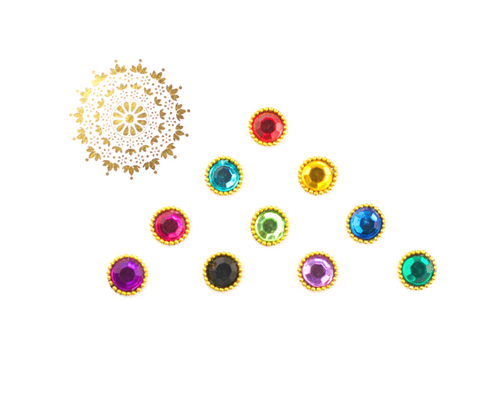 10 Multicoloured Gem Bindis with Beading | Avani London | Inspirational Indian Jewellery