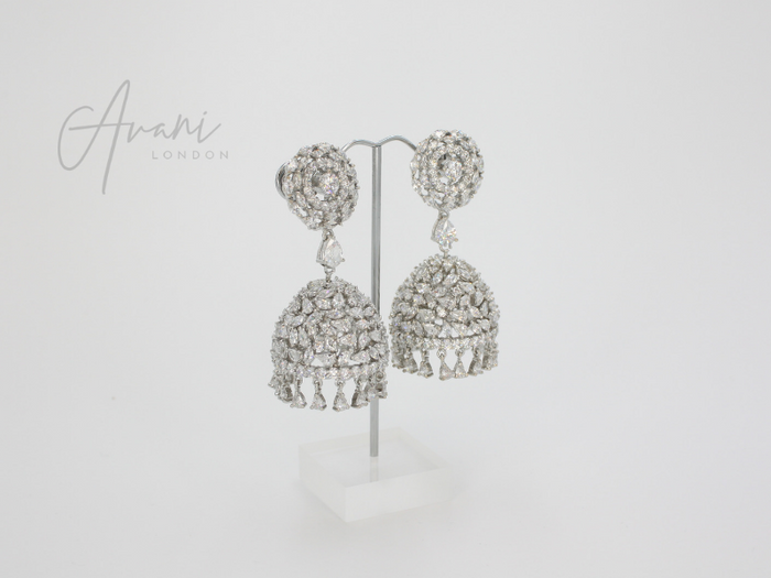 Aarti Signature Rhodium Jhumka Earrings | Avani London | Inspirational Indian Jewellery