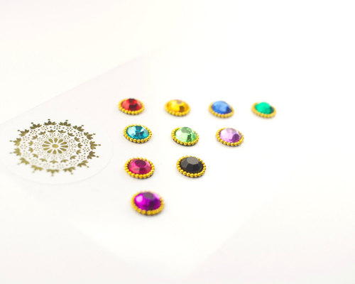 10 Multicoloured Gem Bindis with Beading