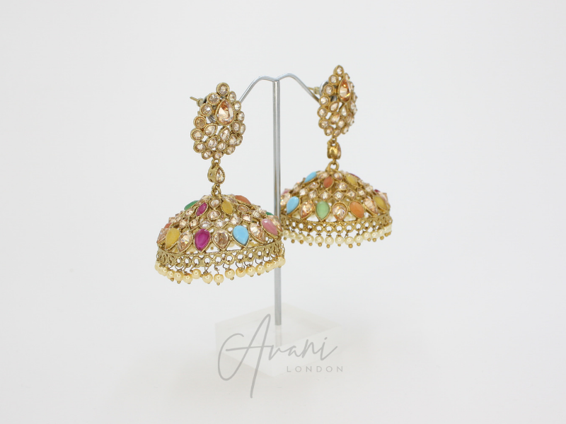 Simmi - Multicoloured Jhumka Earrings | Avani London | Inspirational Indian Jewellery