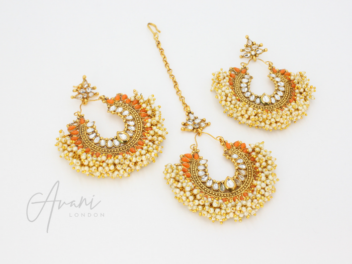 Pia - Orange Earrings and Tikka | Avani London | Inspirational Indian Jewellery