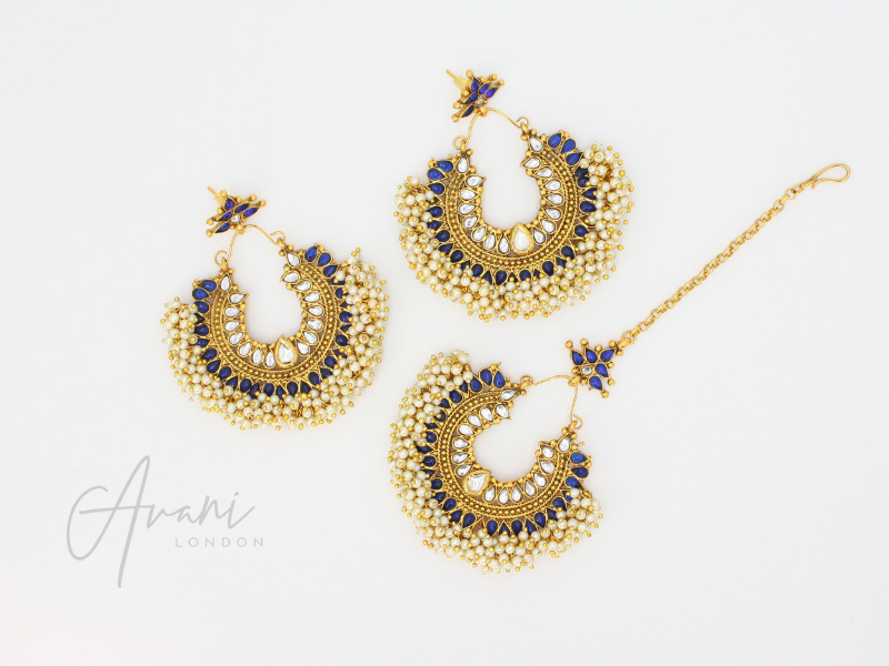 Pia - Royal Blue Earrings and Tikka | Avani London | Inspirational Indian Jewellery