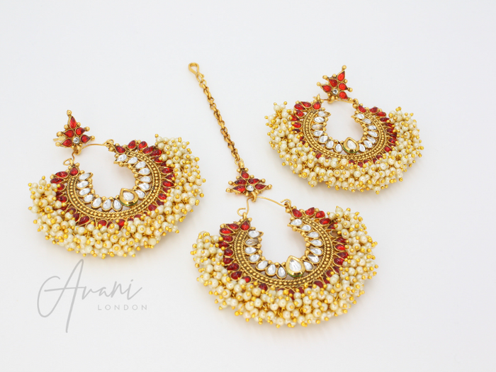 Pia - Red Earrings and Tikka | Avani London | Inspirational Indian Jewellery