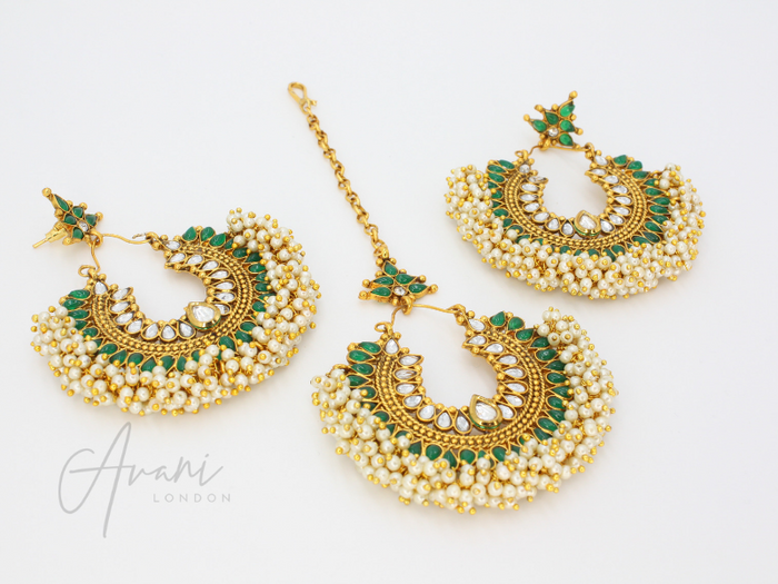 Pia - Emerald Green Earrings and Tikka | Avani London | Inspirational Indian Jewellery