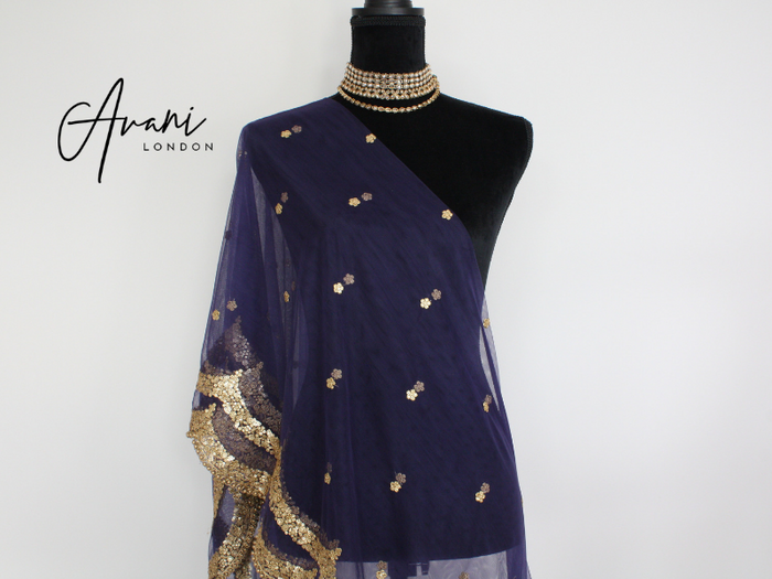 Midnight Blue Soft Net Dupatta | Avani London | Inspirational Indian Jewellery