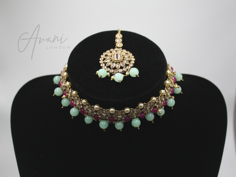 Mya Choker and Earring Set - Mint and Fuschia | Avani London | Inspirational Indian Jewellery
