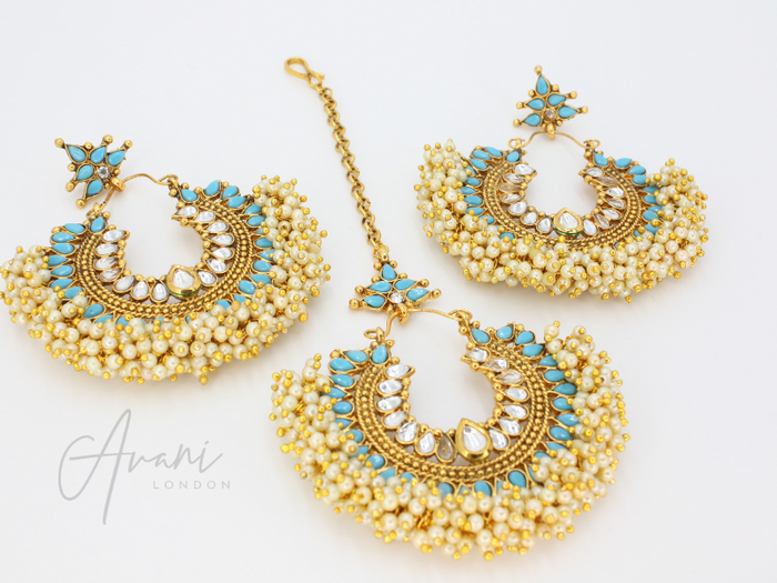Pia - Aqua Earrings and Tikka | Avani London | Inspirational Indian Jewellery