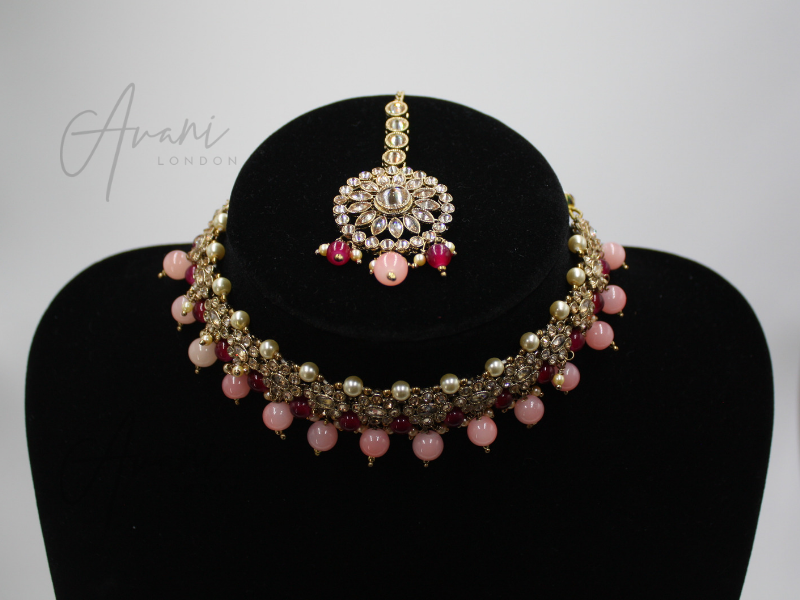 Mya Choker and Earring Set - Fuschia and Baby Pink | Avani London | Inspirational Indian Jewellery