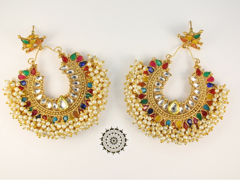 Pia - Rainbow Earrings and Tikka